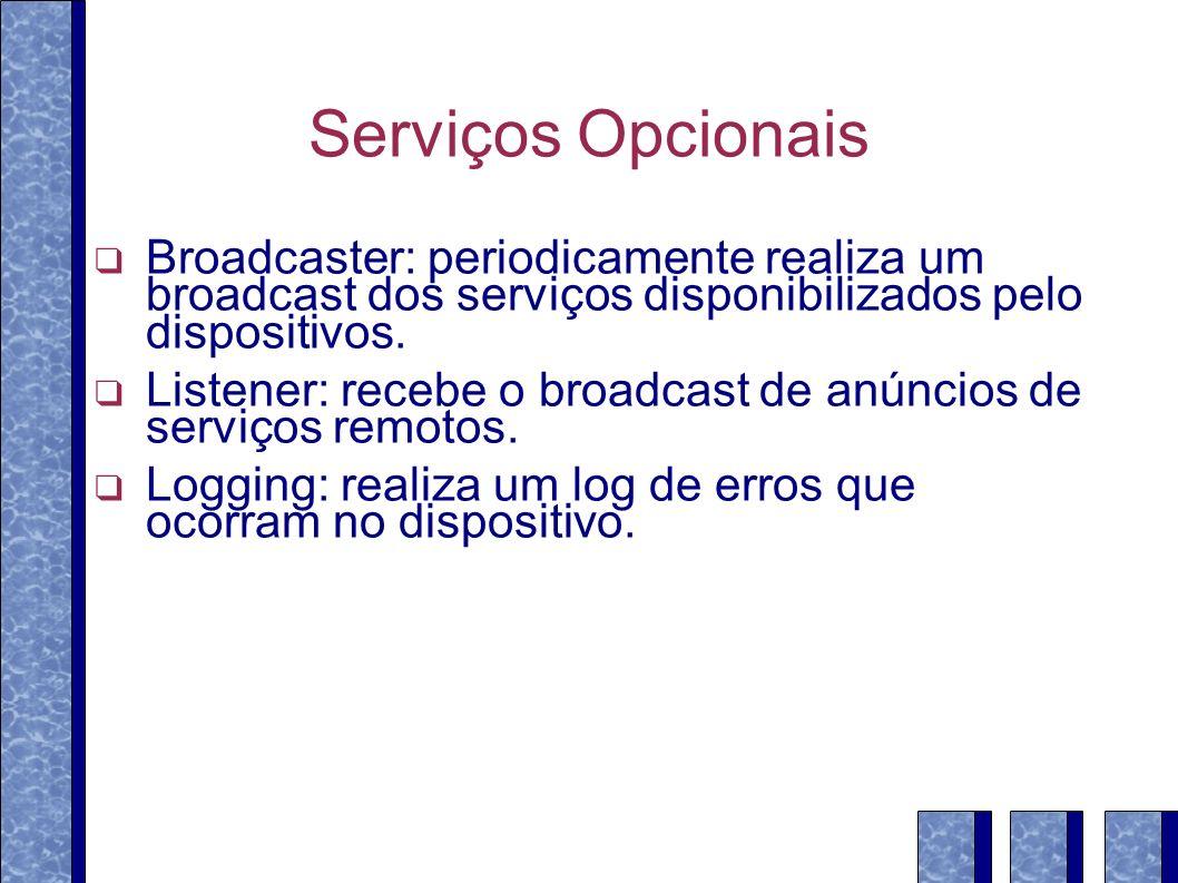 Serviços Opcionais Broadcaster: periodicamente realiza um broadcast dos serviços disponibilizados pelo dispositivos. Listener: recebe o broadcast de a