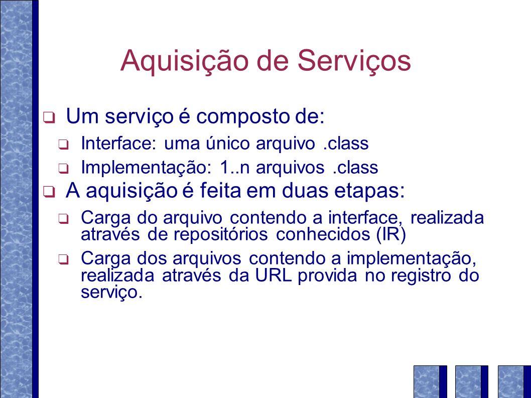 Aquisição de Serviços Um serviço é composto de: Interface: uma único arquivo.class Implementação: 1..n arquivos.class A aquisição é feita em duas etap
