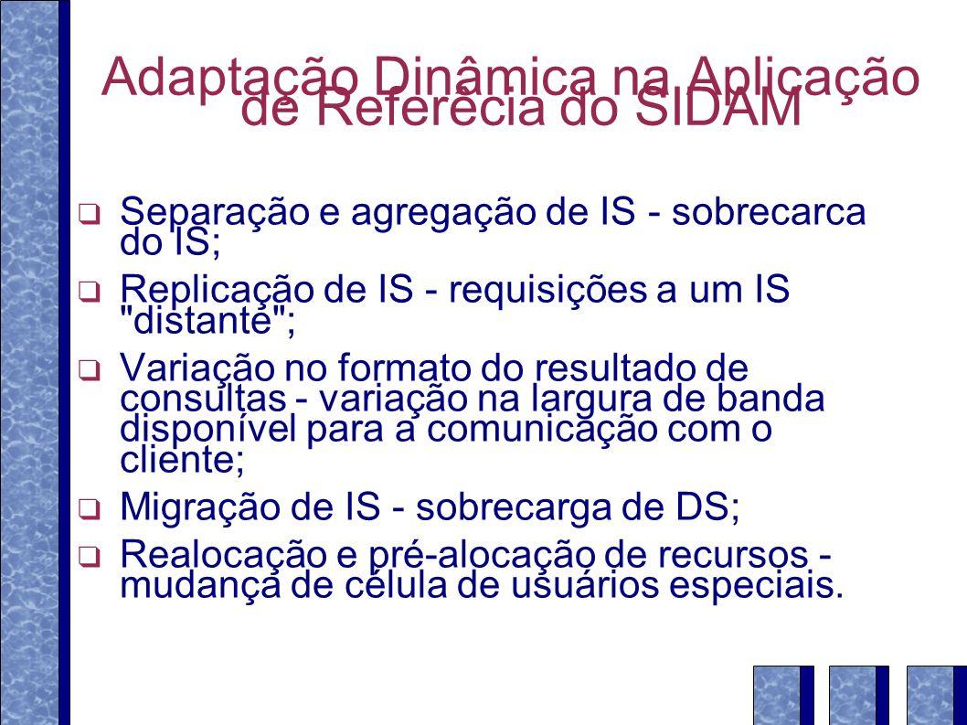 Adaptação Dinâmica na Aplicação de Referêcia do SIDAM Separação e agregação de IS - sobrecarca do IS; Replicação de IS - requisições a um IS distante ; Variação no formato do resultado de consultas - variação na largura de banda disponível para a comunicação com o cliente; Migração de IS - sobrecarga de DS; Realocação e pré-alocação de recursos - mudança de célula de usuários especiais.