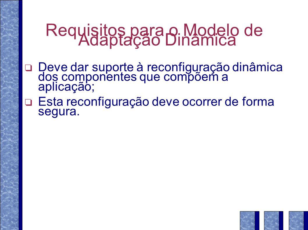Requisitos para o Modelo de Adaptação Dinâmica Deve dar suporte à reconfiguração dinâmica dos componentes que compõem a aplicação; Esta reconfiguração