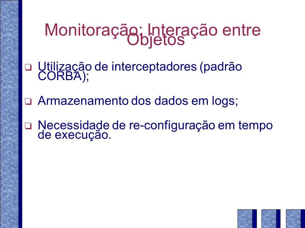 Monitoração: Interação entre Objetos Utilização de interceptadores (padrão CORBA); Armazenamento dos dados em logs; Necessidade de re-configuração em