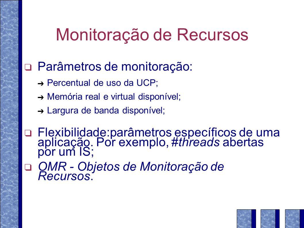 Monitoração de Recursos Parâmetros de monitoração: Percentual de uso da UCP; Memória real e virtual disponível; Largura de banda disponível; Flexibilidade:parâmetros específicos de uma aplicação.