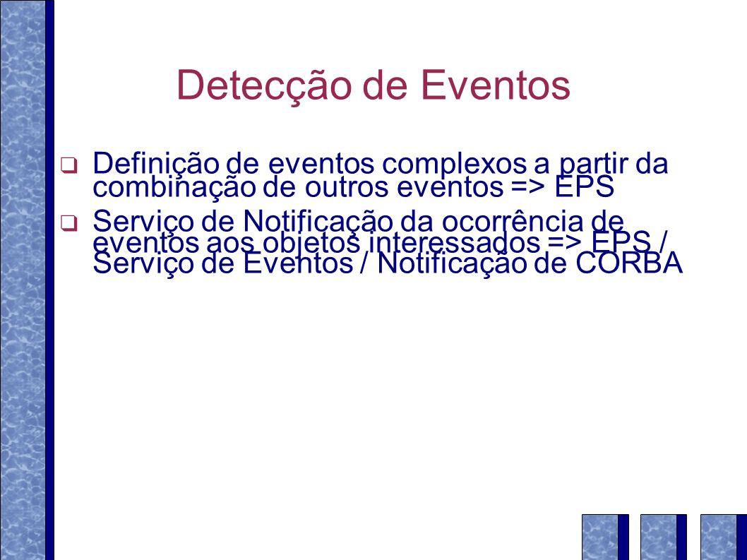 Detecção de Eventos Definição de eventos complexos a partir da combinação de outros eventos => EPS Serviço de Notificação da ocorrência de eventos aos