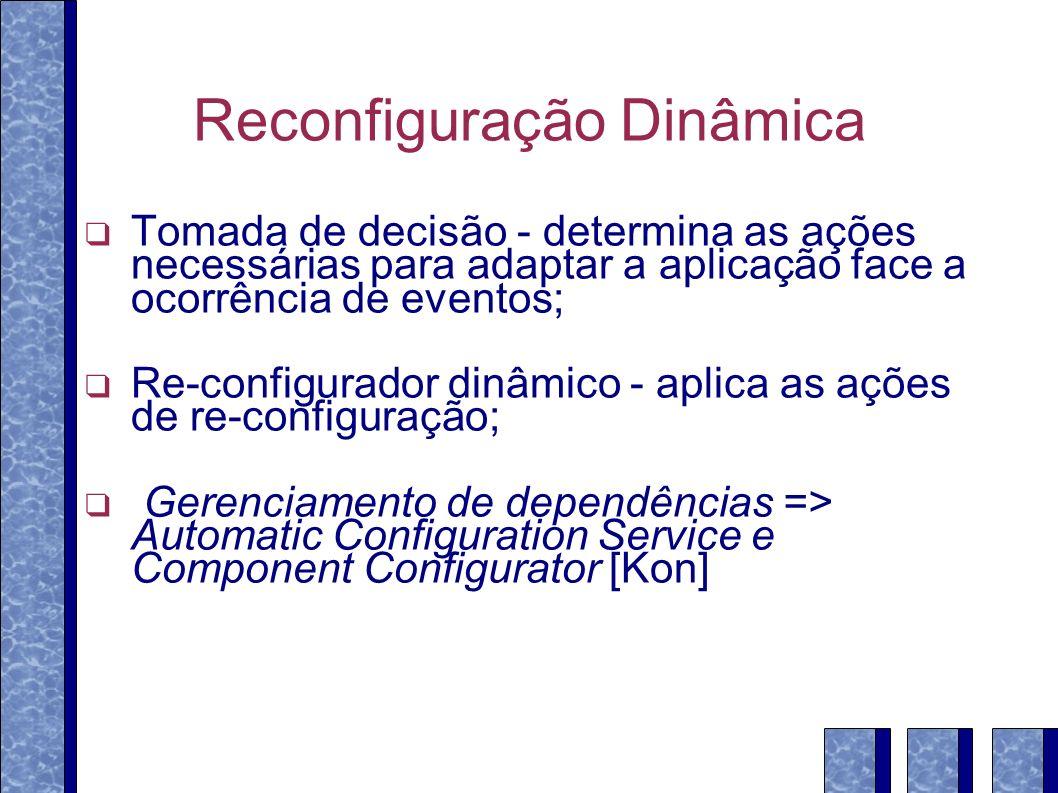 Reconfiguração Dinâmica Tomada de decisão - determina as ações necessárias para adaptar a aplicação face a ocorrência de eventos; Re-configurador dinâmico - aplica as ações de re-configuração; Gerenciamento de dependências => Automatic Configuration Service e Component Configurator [Kon]