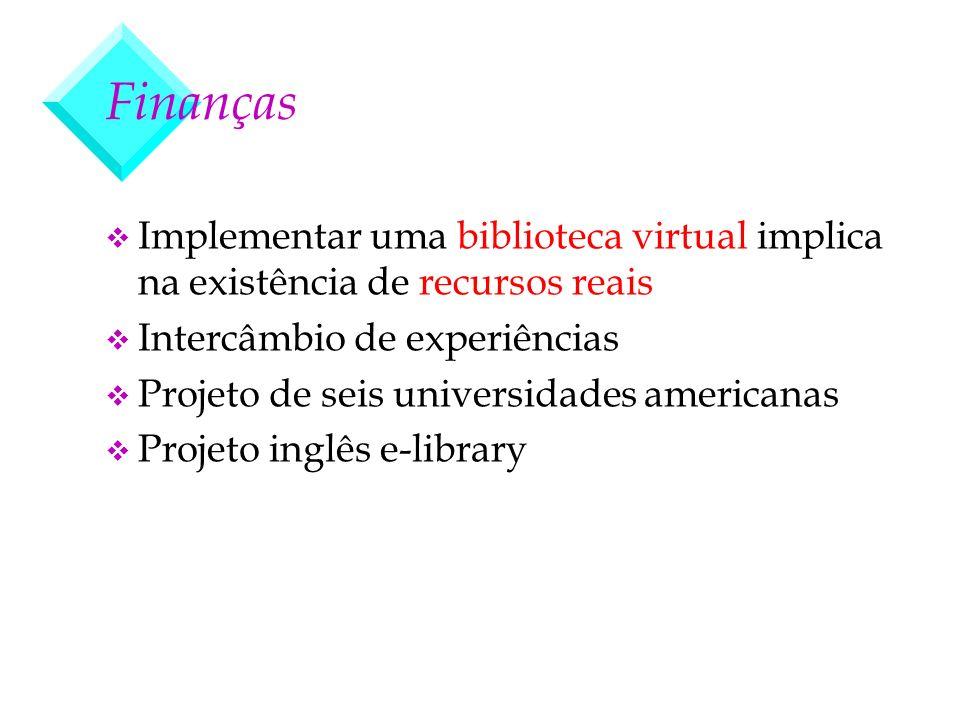 Finanças v Implementar uma biblioteca virtual implica na existência de recursos reais v Intercâmbio de experiências v Projeto de seis universidades am