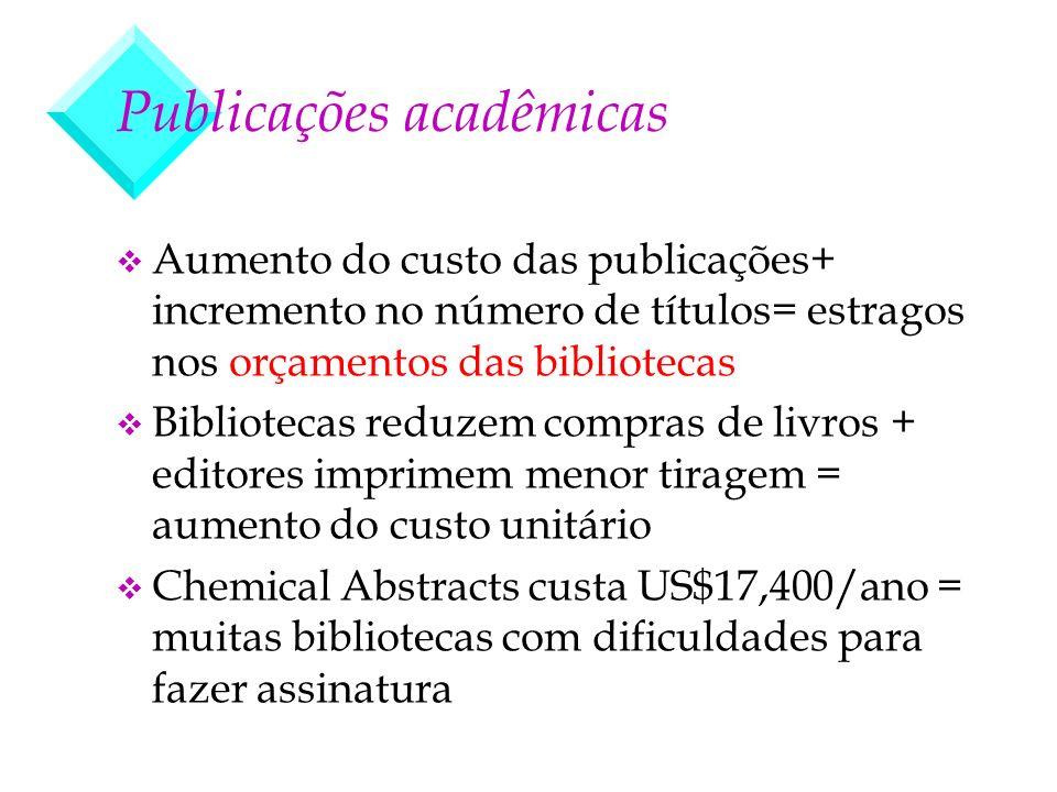 Publicações acadêmicas v Aumento do custo das publicações+ incremento no número de títulos= estragos nos orçamentos das bibliotecas v Bibliotecas redu
