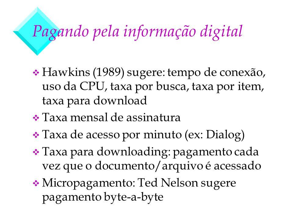 Pagando pela informação digital v Hawkins (1989) sugere: tempo de conexão, uso da CPU, taxa por busca, taxa por item, taxa para download v Taxa mensal