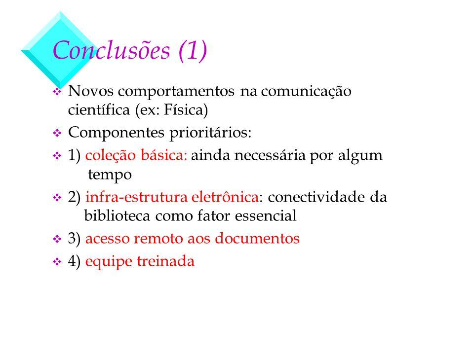 Conclusões (1) v Novos comportamentos na comunicação científica (ex: Física) v Componentes prioritários: v 1) coleção básica: ainda necessária por alg