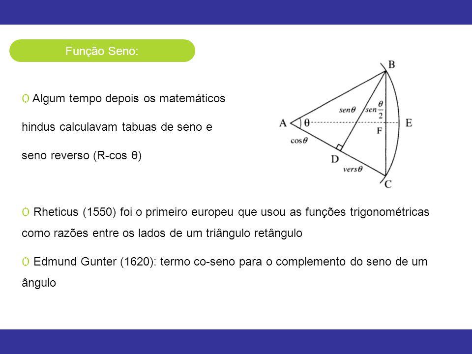 Função Seno: Ѻ Algum tempo depois os matemáticos hindus calculavam tabuas de seno e seno reverso (R-cos θ) Ѻ Rheticus (1550) foi o primeiro europeu qu