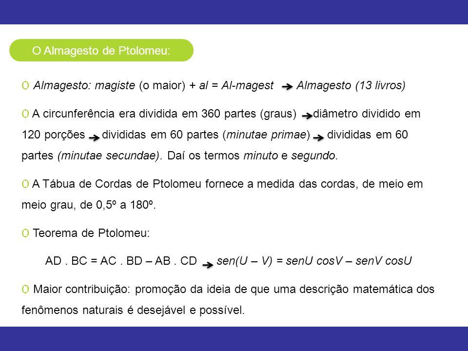 O Almagesto de Ptolomeu: Ѻ Almagesto: magiste (o maior) + al = Al-magest Almagesto (13 livros) Ѻ A circunferência era dividida em 360 partes (graus) d