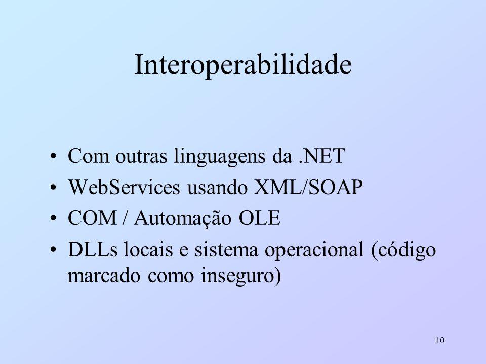 10 Interoperabilidade Com outras linguagens da.NET WebServices usando XML/SOAP COM / Automação OLE DLLs locais e sistema operacional (código marcado c