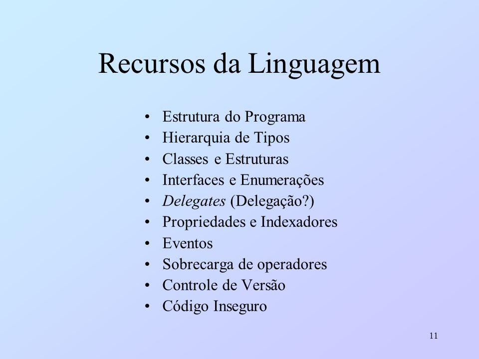 11 Recursos da Linguagem Estrutura do Programa Hierarquia de Tipos Classes e Estruturas Interfaces e Enumerações Delegates (Delegação?) Propriedades e