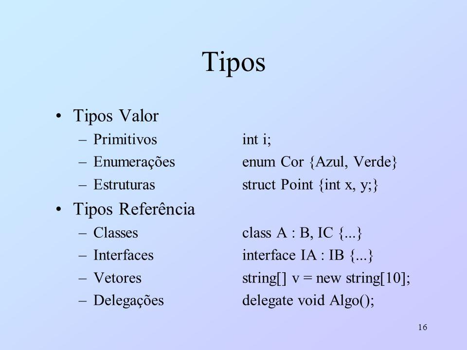 16 Tipos Tipos Valor –Primitivosint i; –Enumeraçõesenum Cor {Azul, Verde} –Estruturasstruct Point {int x, y;} Tipos Referência –Classesclass A : B, IC