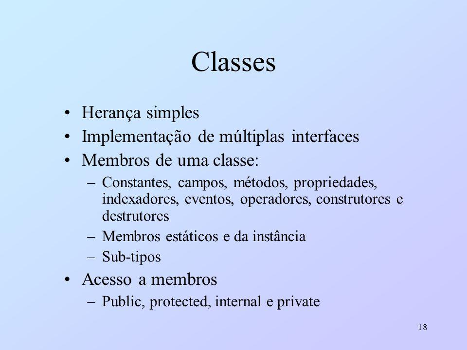 18 Classes Herança simples Implementação de múltiplas interfaces Membros de uma classe: –Constantes, campos, métodos, propriedades, indexadores, event