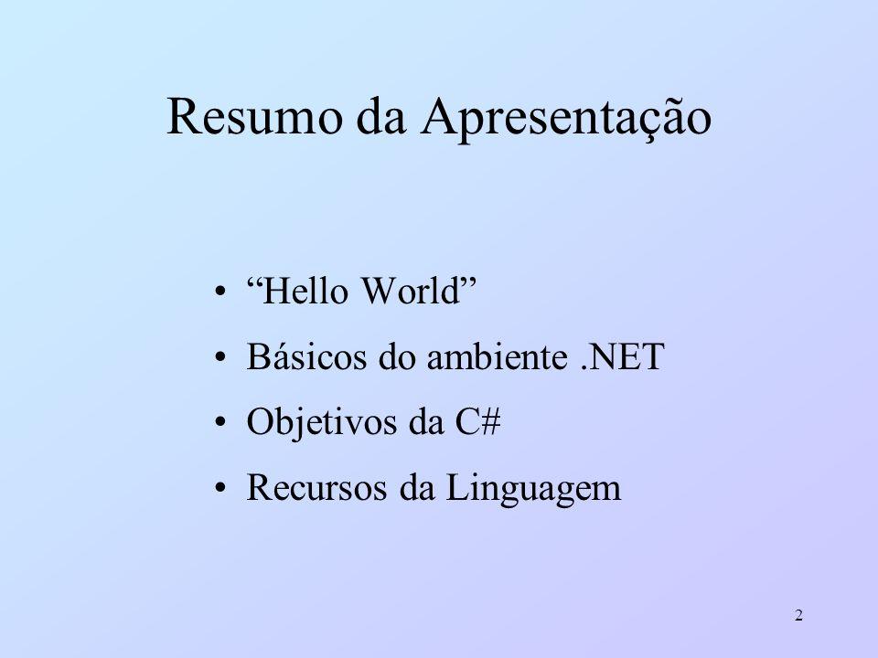 2 Resumo da Apresentação Hello World Básicos do ambiente.NET Objetivos da C# Recursos da Linguagem