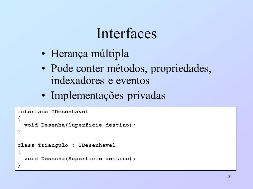 20 Interfaces Herança múltipla Pode conter métodos, propriedades, indexadores e eventos Implementações privadas interface IDesenhavel { void Desenha(S