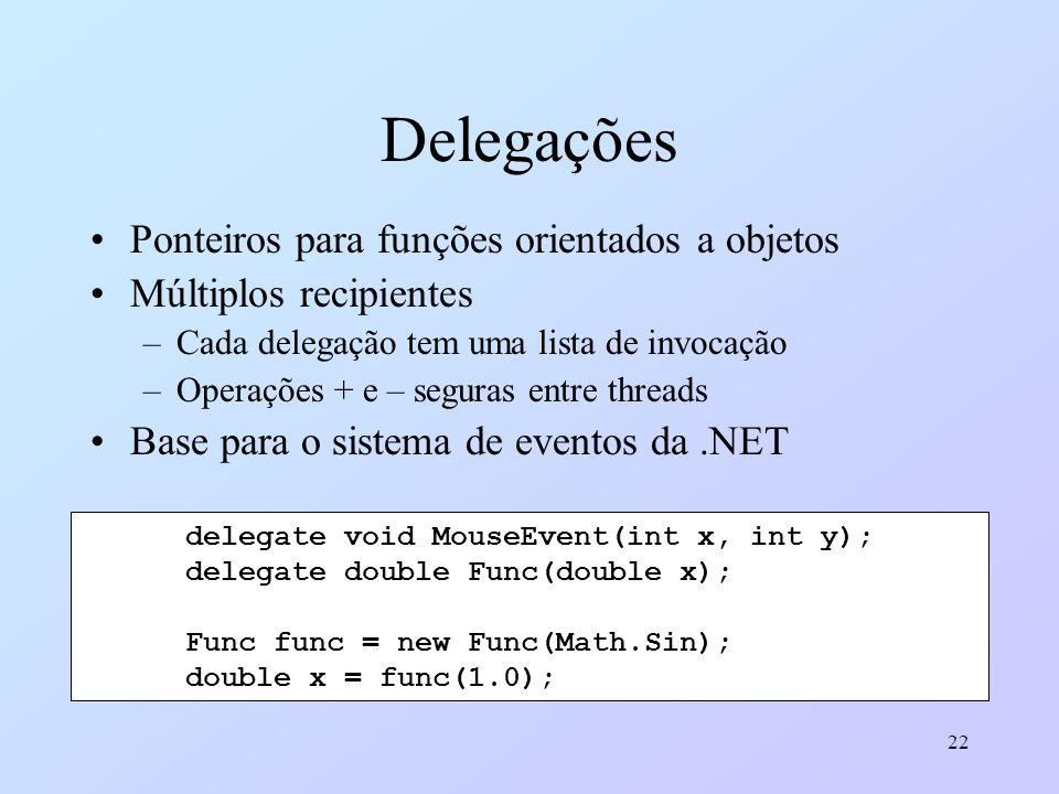 22 Delegações Ponteiros para funções orientados a objetos Múltiplos recipientes –Cada delegação tem uma lista de invocação –Operações + e – seguras en