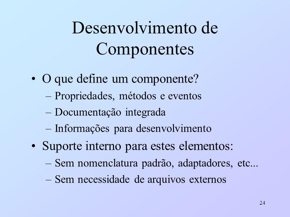 24 Desenvolvimento de Componentes O que define um componente? –Propriedades, métodos e eventos –Documentação integrada –Informações para desenvolvimen