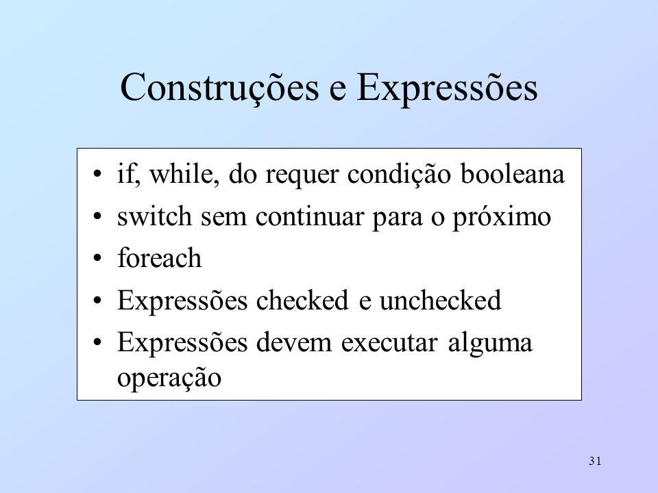 31 Construções e Expressões if, while, do requer condição booleana switch sem continuar para o próximo foreach Expressões checked e unchecked Expressõ