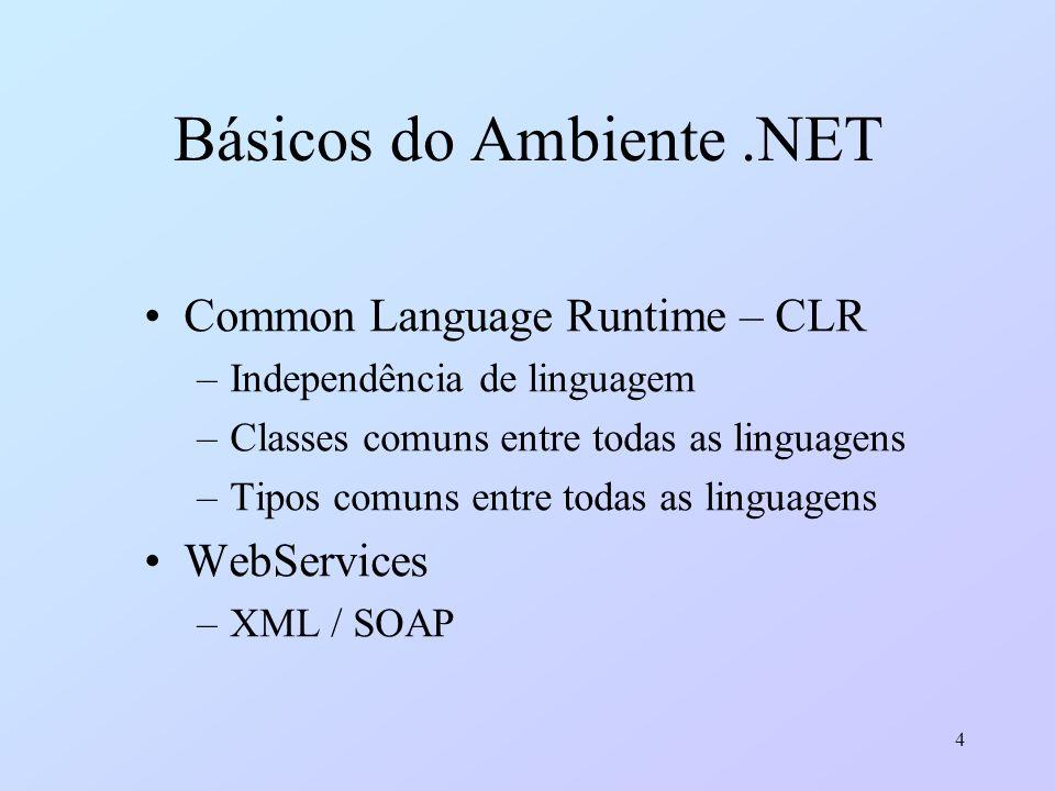 4 Básicos do Ambiente.NET Common Language Runtime – CLR –Independência de linguagem –Classes comuns entre todas as linguagens –Tipos comuns entre toda