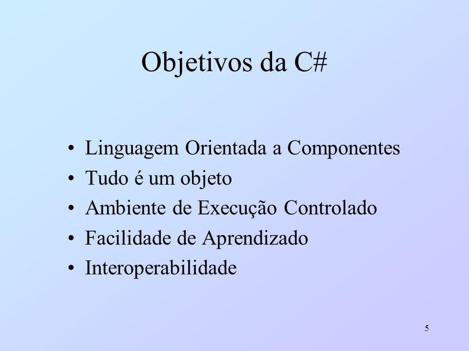 5 Objetivos da C# Linguagem Orientada a Componentes Tudo é um objeto Ambiente de Execução Controlado Facilidade de Aprendizado Interoperabilidade