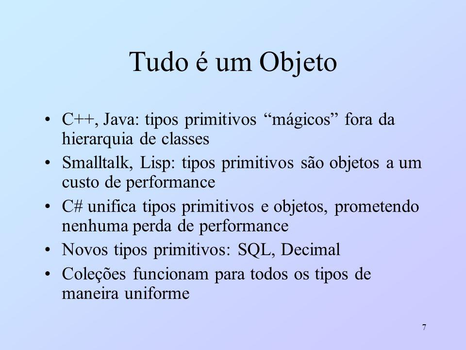 7 Tudo é um Objeto C++, Java: tipos primitivos mágicos fora da hierarquia de classes Smalltalk, Lisp: tipos primitivos são objetos a um custo de perfo