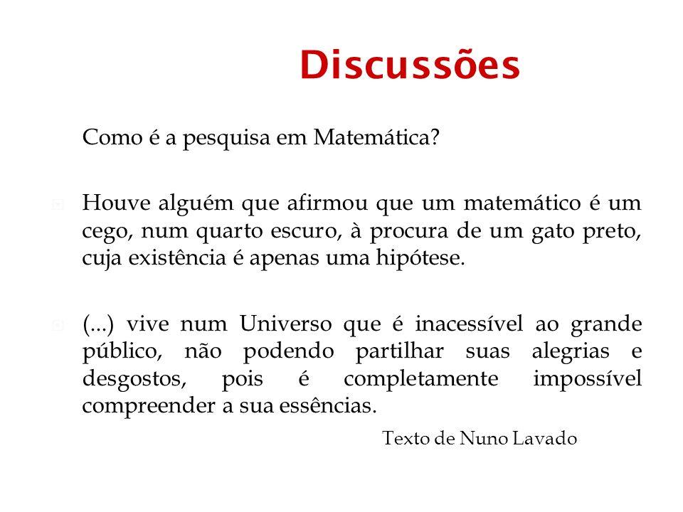 Discussões Como é a pesquisa em Matemática.