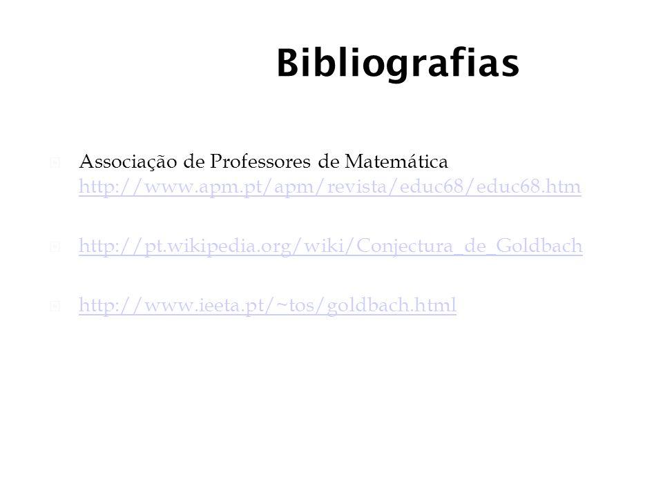 Bibliografias Associação de Professores de Matemática http://www.apm.pt/apm/revista/educ68/educ68.htm http://www.apm.pt/apm/revista/educ68/educ68.htm http://pt.wikipedia.org/wiki/Conjectura_de_Goldbach http://www.ieeta.pt/~tos/goldbach.html