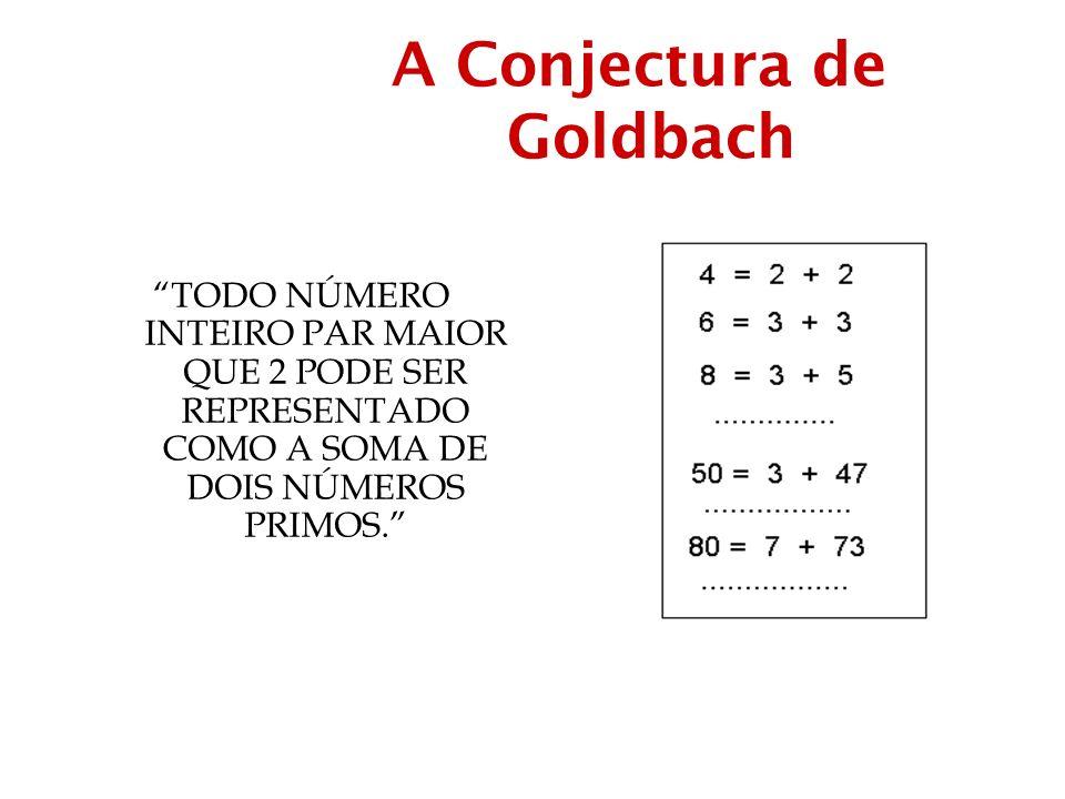 A Conjectura de Goldbach TODO NÚMERO INTEIRO PAR MAIOR QUE 2 PODE SER REPRESENTADO COMO A SOMA DE DOIS NÚMEROS PRIMOS.