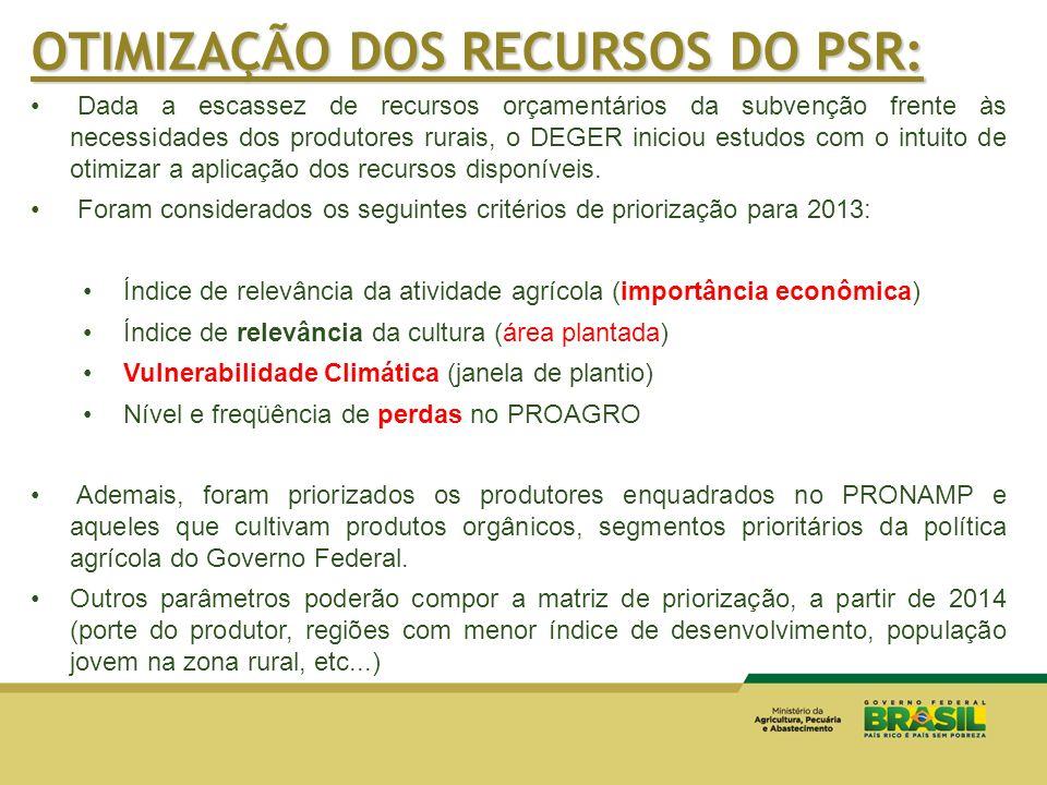 Dada a escassez de recursos orçamentários da subvenção frente às necessidades dos produtores rurais, o DEGER iniciou estudos com o intuito de otimizar