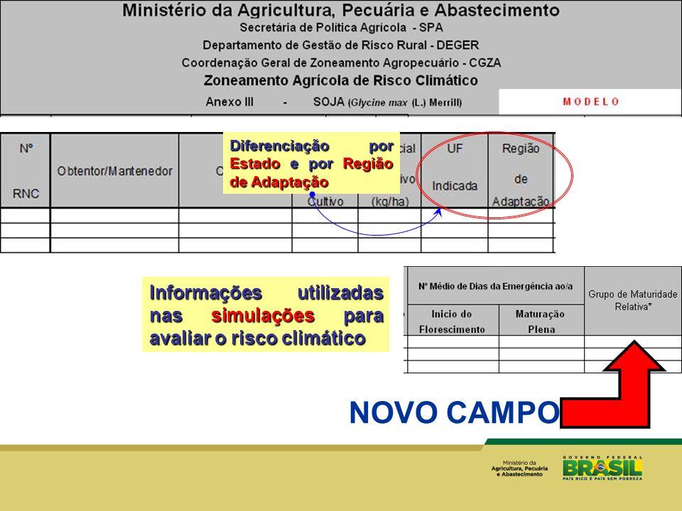 NOVO CAMPO Diferenciação por Estado e por Região de Adaptação Informações utilizadas nas simulações para avaliar o risco climático
