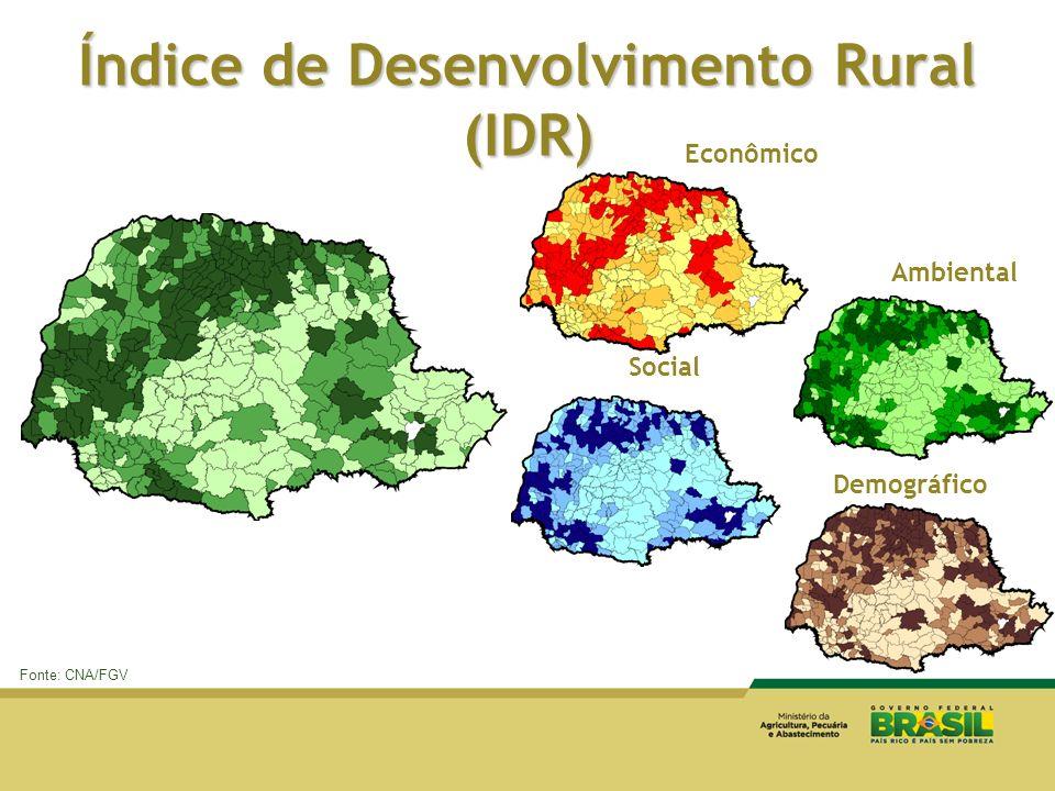 Índice de Desenvolvimento Rural (IDR) Econômico Social Demográfico Ambiental Fonte: CNA/FGV