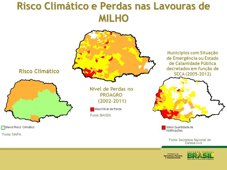 Risco Climático e Perdas nas Lavouras de MILHO Risco Climático Fonte: MAPA. Menor Risco Climático Municípios com Situação de Emergência ou Estado de C
