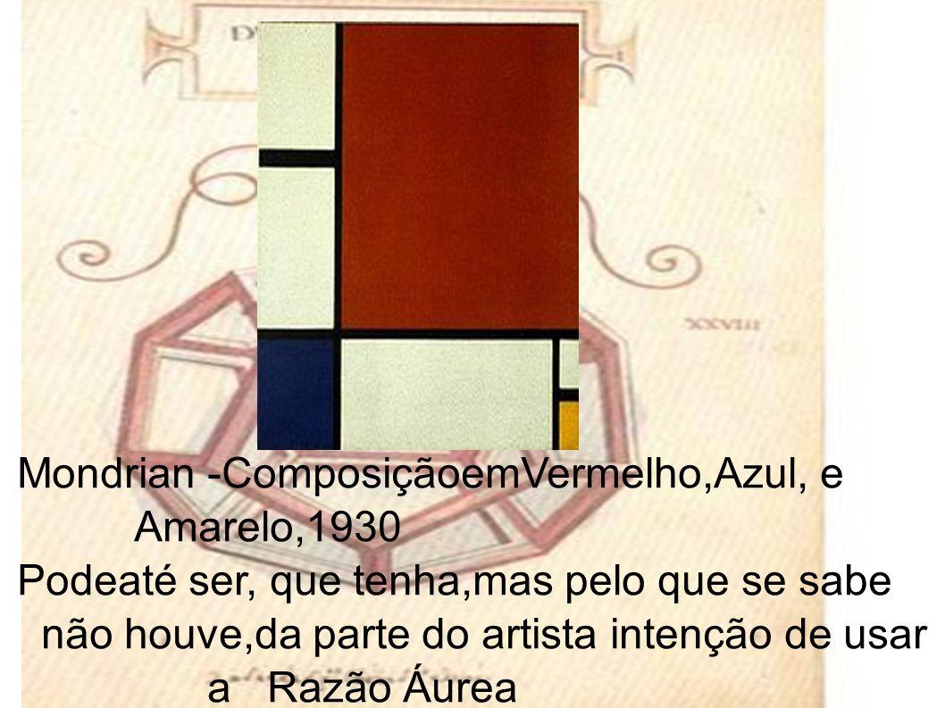 Mondrian -ComposiçãoemVermelho,Azul, e Amarelo,1930 Podeaté ser, que tenha,mas pelo que se sabe não houve,da parte do artista intenção de usar a Razão Áurea