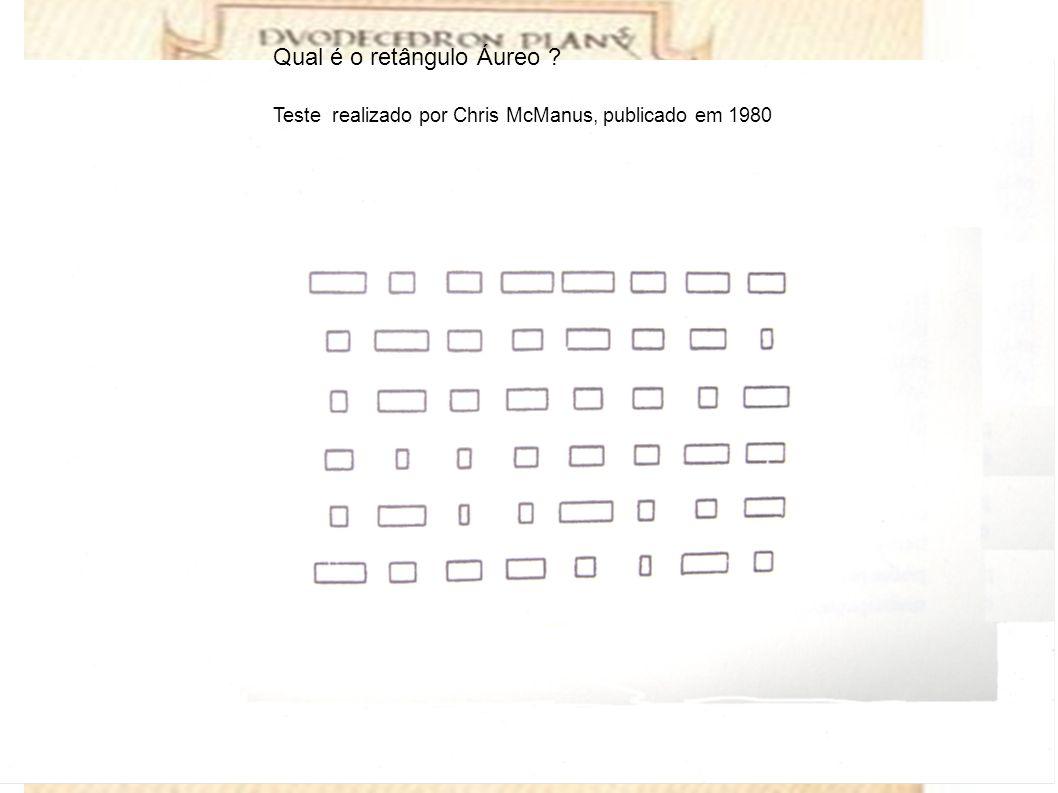 Qual é o retângulo Áureo Teste realizado por Chris McManus, publicado em 1980