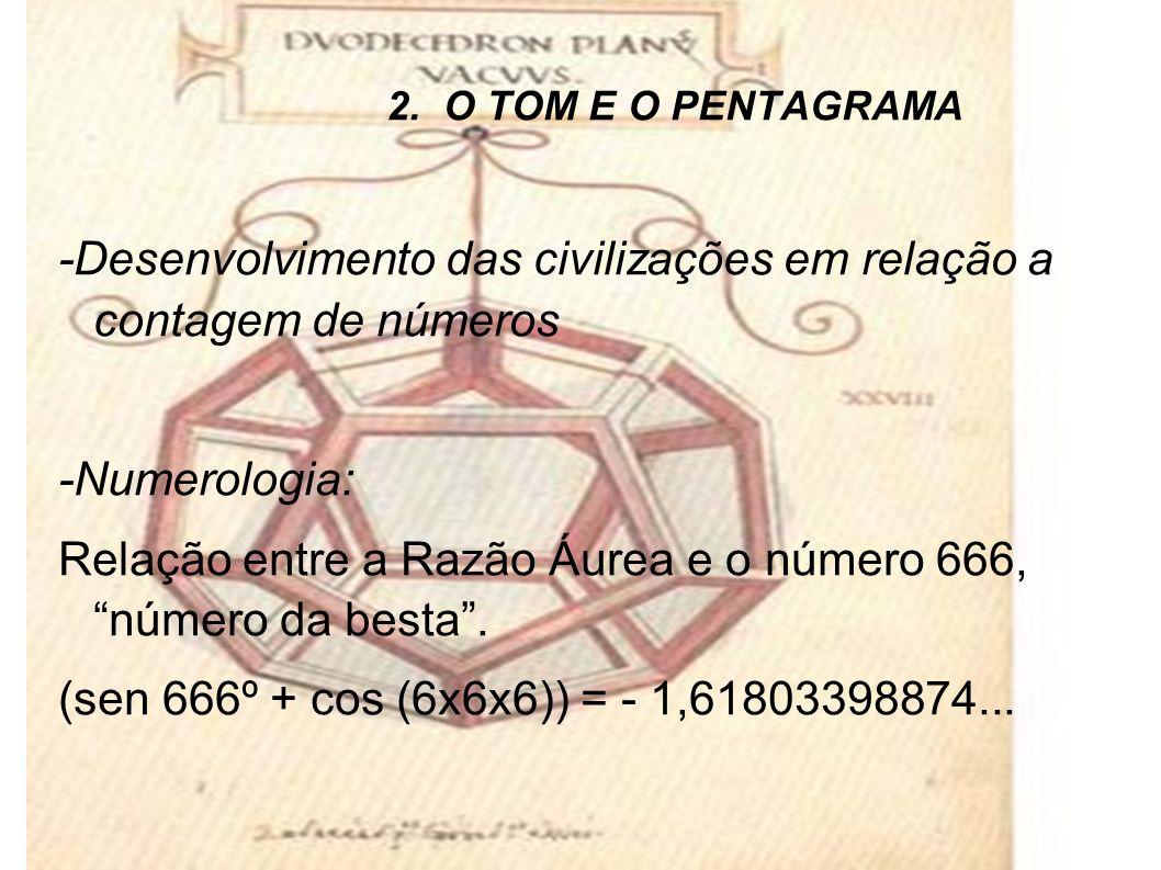 2. O TOM E O PENTAGRAMA -Desenvolvimento das civilizações em relação a contagem de números -Numerologia: Relação entre a Razão Áurea e o número 666, n