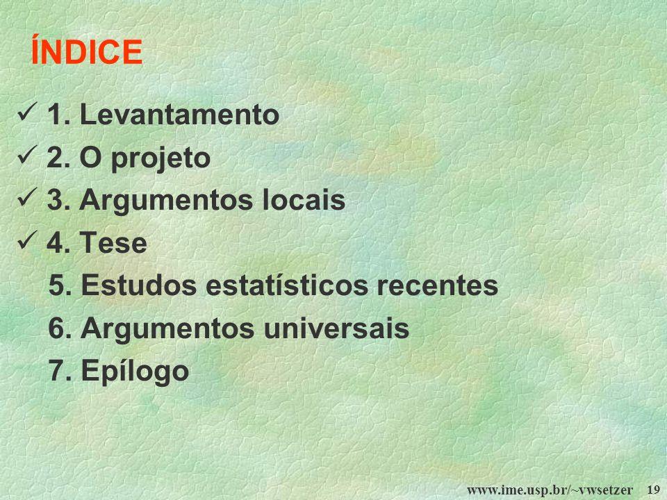 www.ime.usp.br/~vwsetzer 19 ÍNDICE 1. Levantamento 2. O projeto 3. Argumentos locais 4. Tese 5. Estudos estatísticos recentes 6. Argumentos universais
