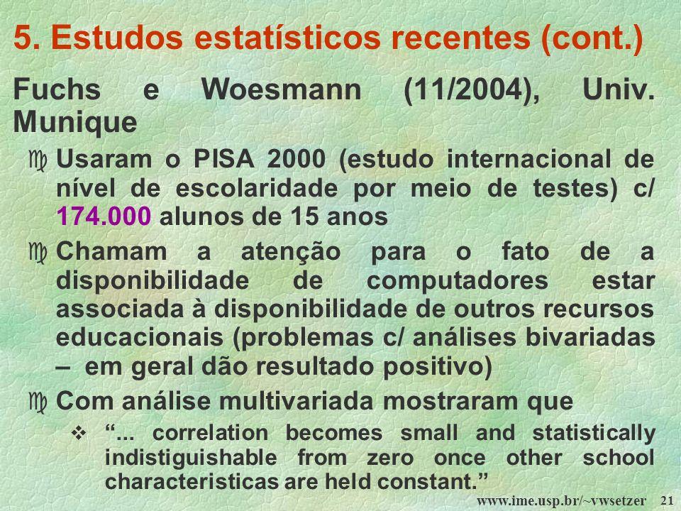 www.ime.usp.br/~vwsetzer 21 5. Estudos estatísticos recentes (cont.) Fuchs e Woesmann (11/2004), Univ. Munique c Usaram o PISA 2000 (estudo internacio