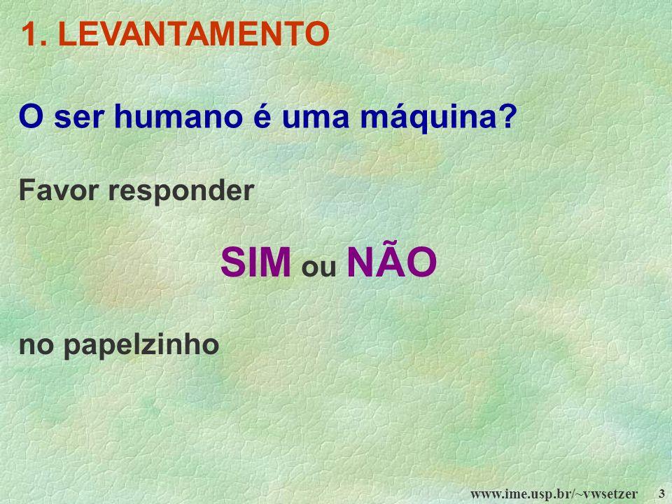www.ime.usp.br/~vwsetzer 3 O ser humano é uma máquina? Favor responder SIM ou NÃO no papelzinho 1. LEVANTAMENTO