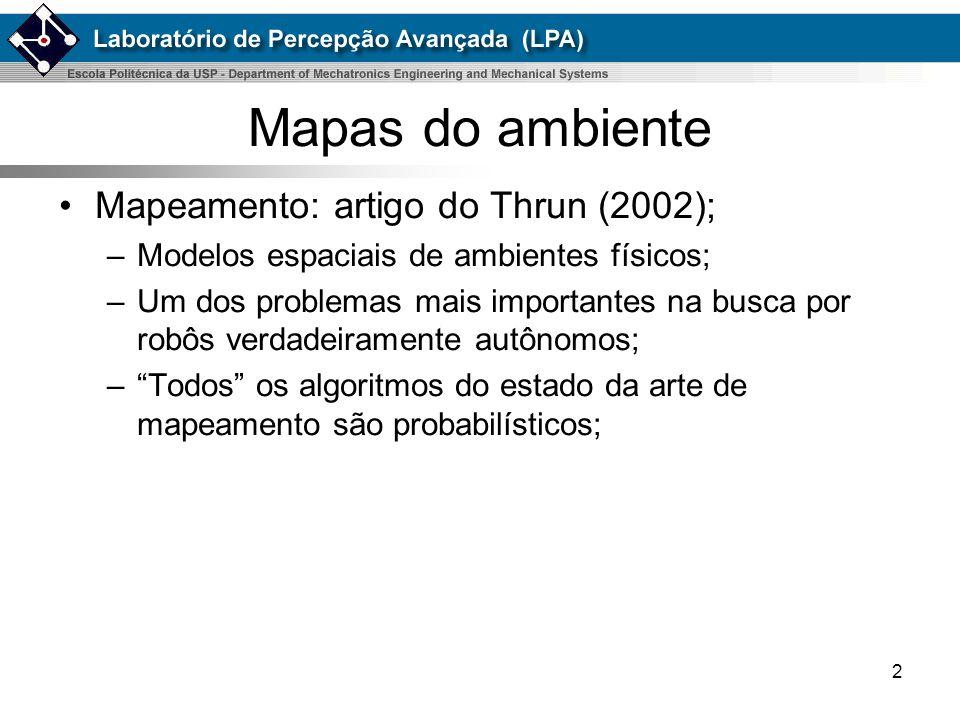 2 Mapas do ambiente Mapeamento: artigo do Thrun (2002); –Modelos espaciais de ambientes físicos; –Um dos problemas mais importantes na busca por robôs