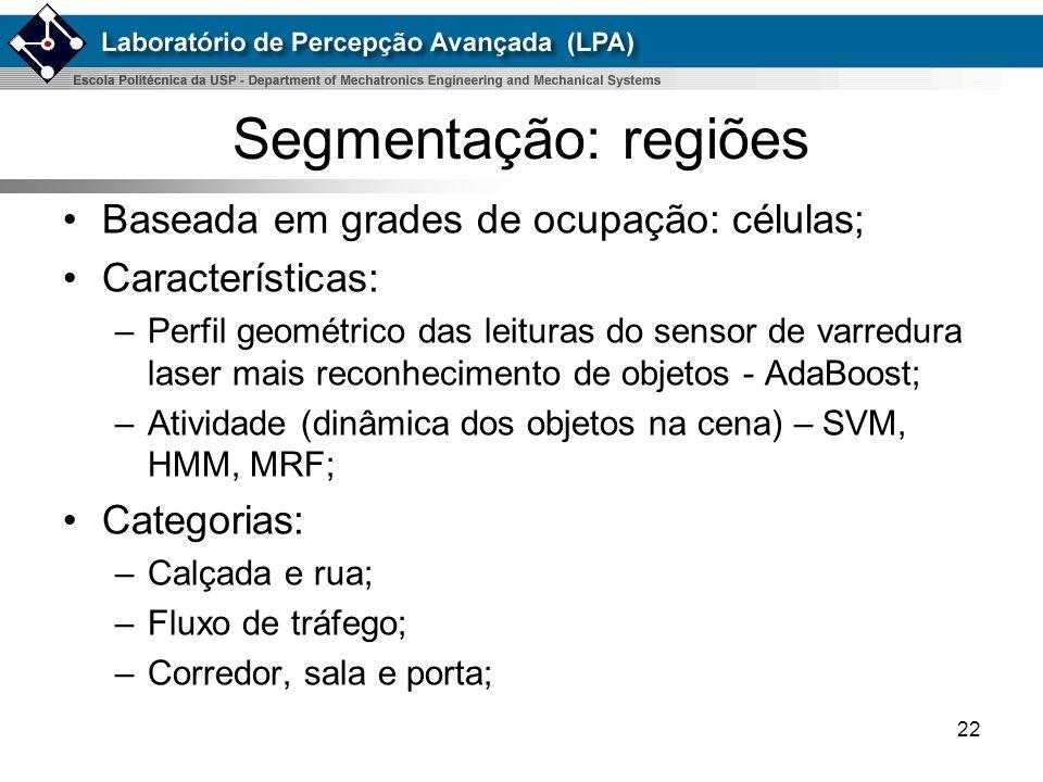 22 Segmentação: regiões Baseada em grades de ocupação: células; Características: –Perfil geométrico das leituras do sensor de varredura laser mais rec