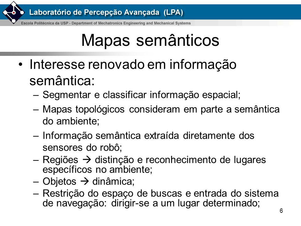 7 Classificação de mapas semânticos Ainda pouco explorado; Mapeamento topológico-semântico: –Similaridade sensorial; –Com objetos; Mapeamento métrico-semântico: –Associação de dados; –Segmentação: Dados de distância; Regiões; Objetos;