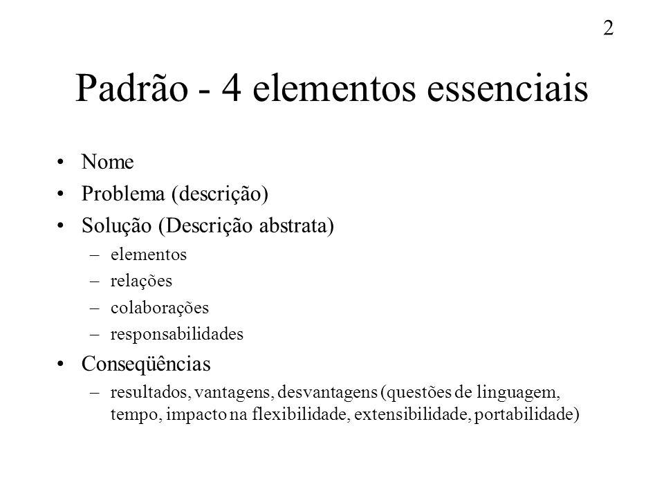 2 Padrão - 4 elementos essenciais Nome Problema (descrição) Solução (Descrição abstrata) –elementos –relações –colaborações –responsabilidades Conseqü