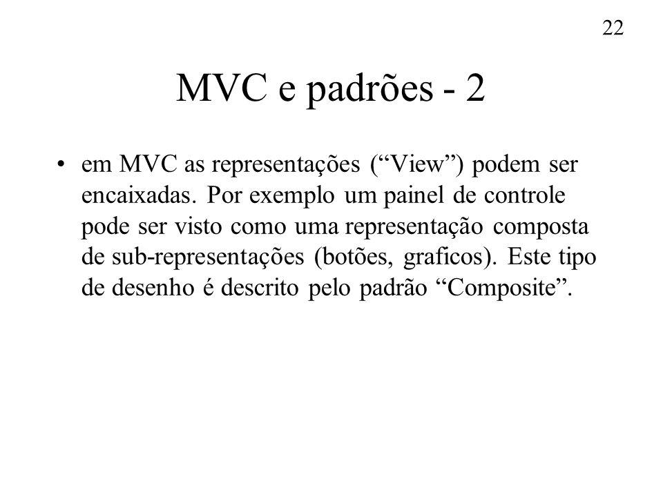 22 MVC e padrões - 2 em MVC as representações (View) podem ser encaixadas. Por exemplo um painel de controle pode ser visto como uma representação com