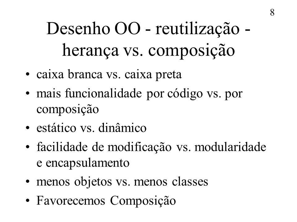 8 Desenho OO - reutilização - herança vs. composição caixa branca vs. caixa preta mais funcionalidade por código vs. por composição estático vs. dinâm