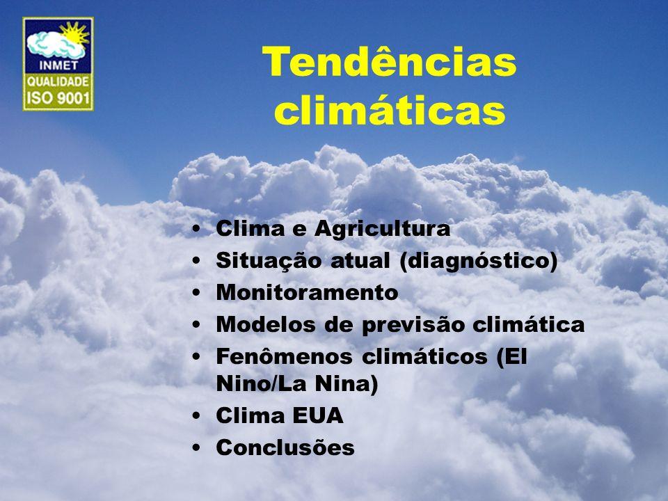 Tendências climáticas Clima e Agricultura Situação atual (diagnóstico) Monitoramento Modelos de previsão climática Fenômenos climáticos (El Nino/La Ni