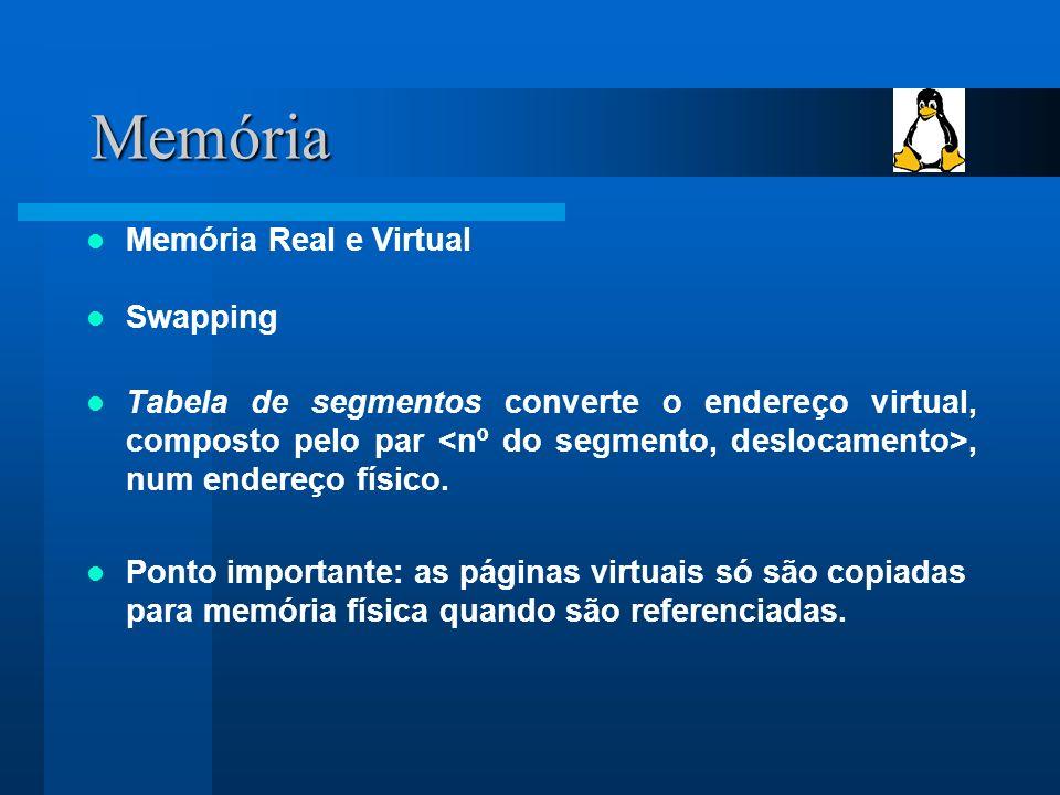 Memória Memória Real e Virtual Swapping Tabela de segmentos converte o endereço virtual, composto pelo par, num endereço físico.
