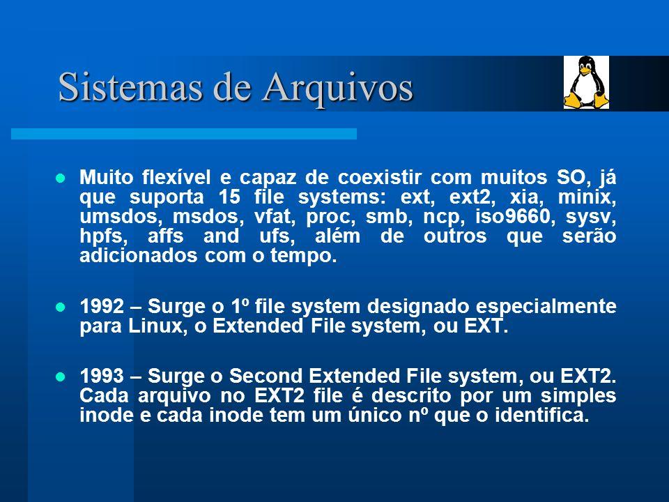 Sistemas de Arquivos Muito flexível e capaz de coexistir com muitos SO, já que suporta 15 file systems: ext, ext2, xia, minix, umsdos, msdos, vfat, proc, smb, ncp, iso9660, sysv, hpfs, affs and ufs, além de outros que serão adicionados com o tempo.