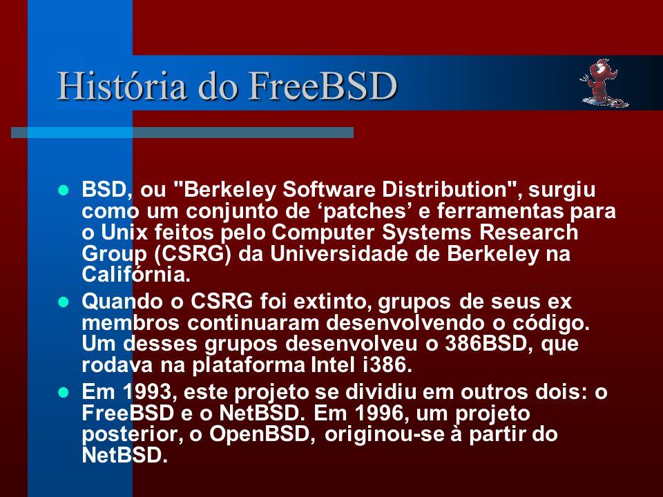 História do FreeBSD BSD, ou Berkeley Software Distribution , surgiu como um conjunto de patches e ferramentas para o Unix feitos pelo Computer Systems Research Group (CSRG) da Universidade de Berkeley na Califórnia.