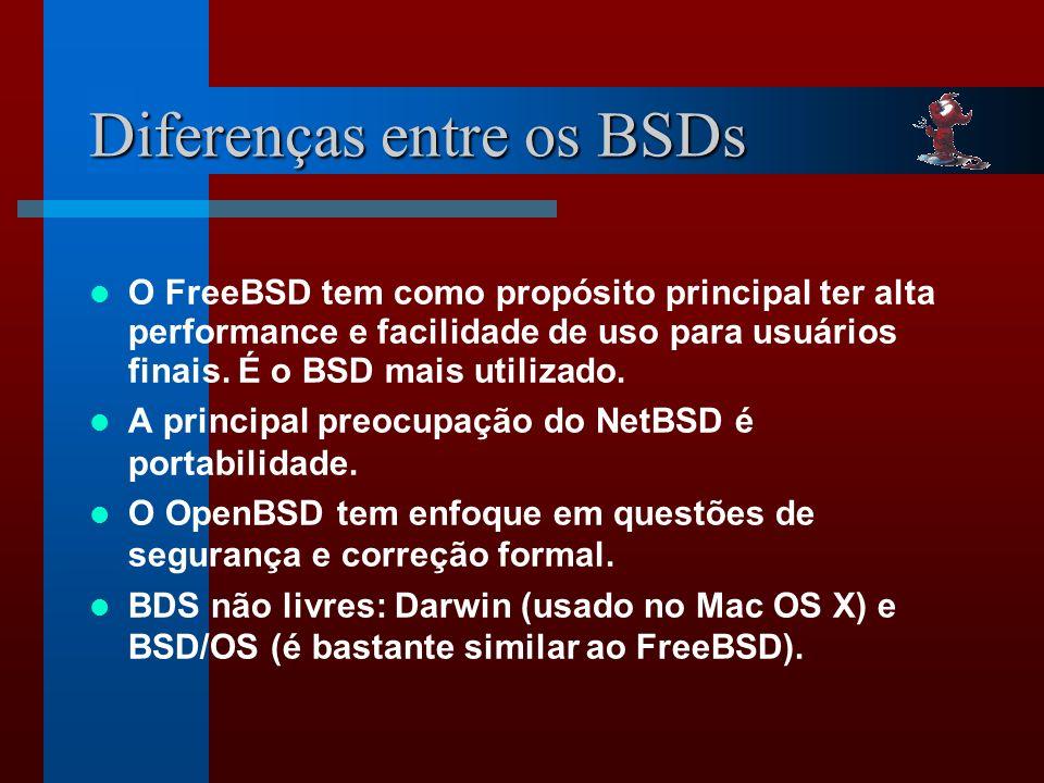 Diferenças entre os BSDs O FreeBSD tem como propósito principal ter alta performance e facilidade de uso para usuários finais.